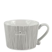 Mug White Stripes & for you in D.Brown 10x8.5x7cm
