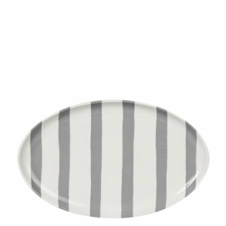 Oval Plate watercolor grey stripes 20x13cm