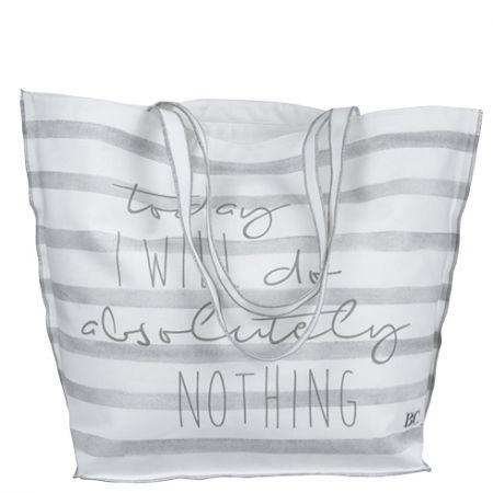 Beachbag White/L.grey stripes 60x45cm I will do...