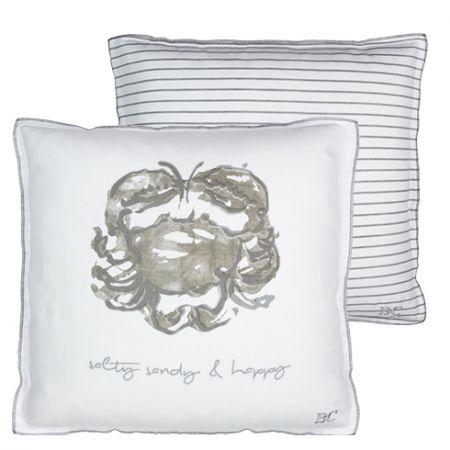 Cushion 50x50 White Crab Titane & text grey