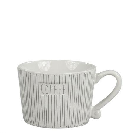 Mug Small Stripes & Coffee in Grey 8.5x7.2x6cm