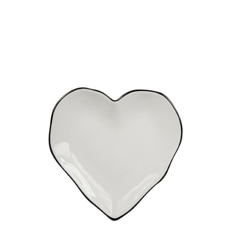 Heart Plate 13cm with black edge