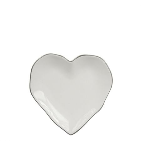 Heart Plate 13cm with Grey edge
