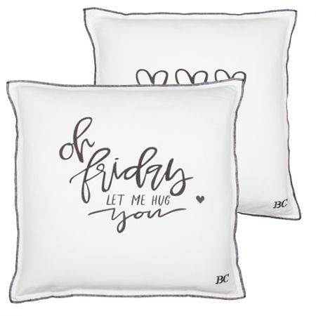 Cushion 50x50 White/Oh Friday in Dark Grey