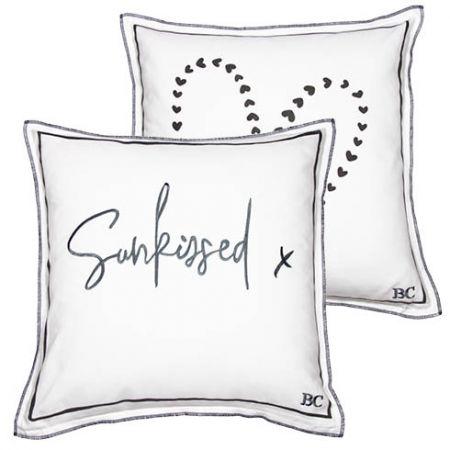 Cushion 50x50 White/Sunkissed & Heart in Dark Grey