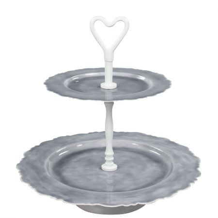 Etagere Round 2 Layers emaille Grey H30&Dia 30cm