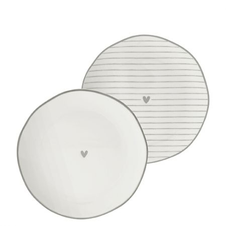 Side Plate Ass(2x12)white/edge & heart grey 13cm