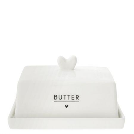 Butter Fleet white/heart in black 12.2x14.7x8.1cm
