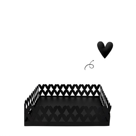 Hearts Napkin Holder Large17.5x17.5x24.5cm Black