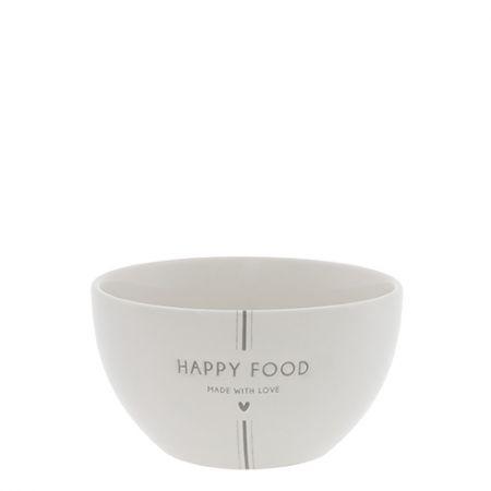 Bowl White/Happy Food in Grey Dia 13x7cm