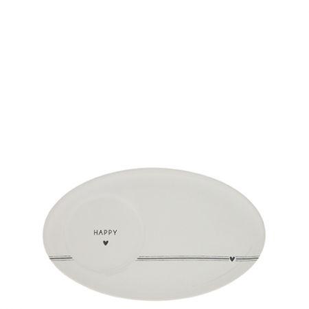 Espresso Plate Happy in Black17x10,5cm