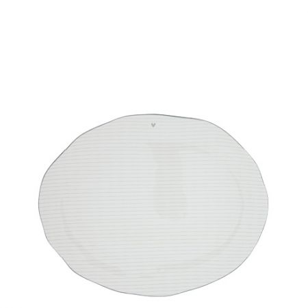 Servingplate White/edge Grey 36x30 cm