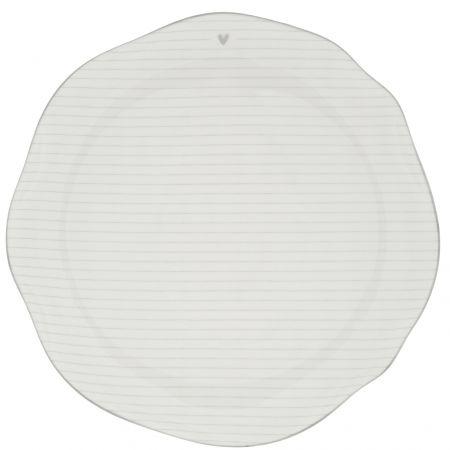 Dinner Plate Stripes White/edge Grey 27cm