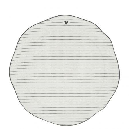 Breakfast Plate Stripes White/edge Black 23cm