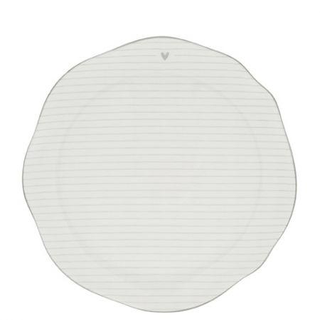 Breakfast Plate Stripes White/edge Grey 23cm