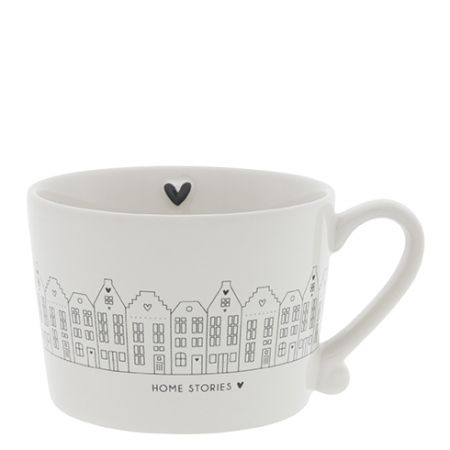 Cup White /Canal Houses in Black 10x8x7cm