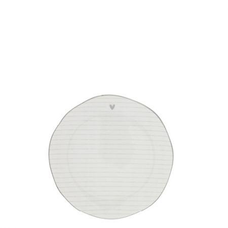 Cake Plate Stripes White/edge Grey 16 cm