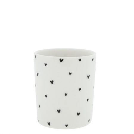 Mug White/hearts in black 8x8x9cm