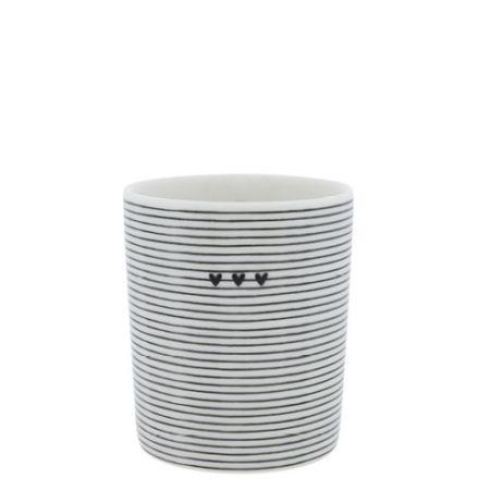 Mug White/stripes 3 hearts in black 8x8x9cm