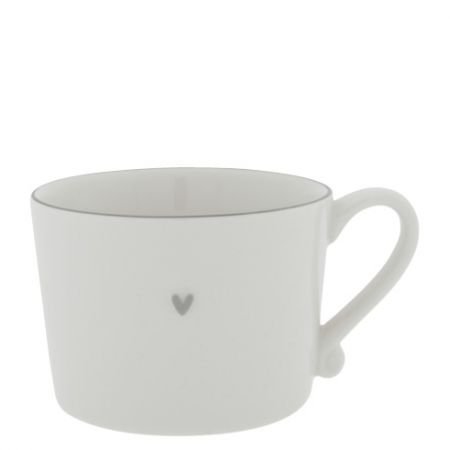 Cup White with Grey edge 10x8x7cm