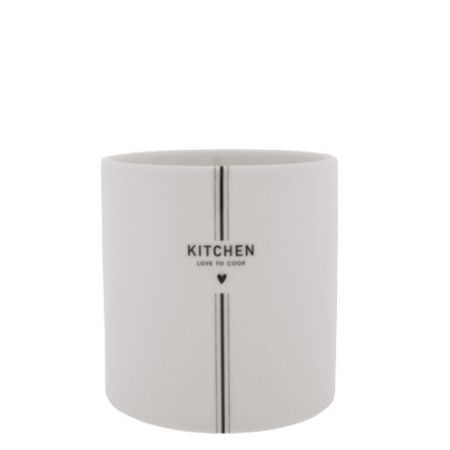 Utensil Jar White KITCHEN in black 14.5x 14.5cm