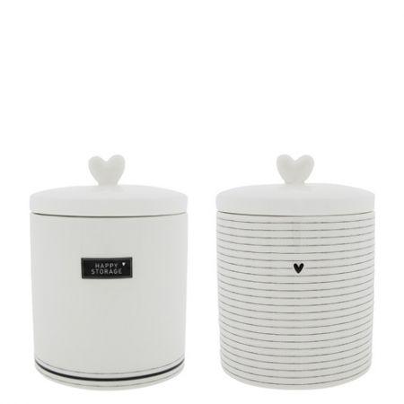 Jars Ass Large White/black (2x6pcs) 14x14x16.5cm