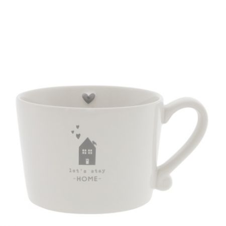 Cup White /let's stay Home in Grey 10x8x7 cm