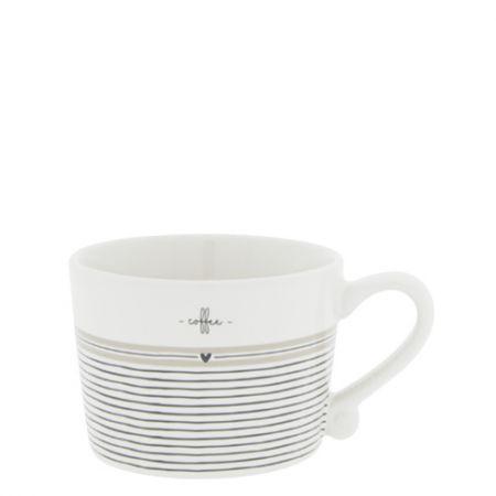 Cup White sm / Stripes Coffee 8.5x7x6cm