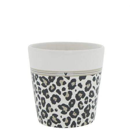 Cup White/Leopard and Stripes 9x9x7.5cm