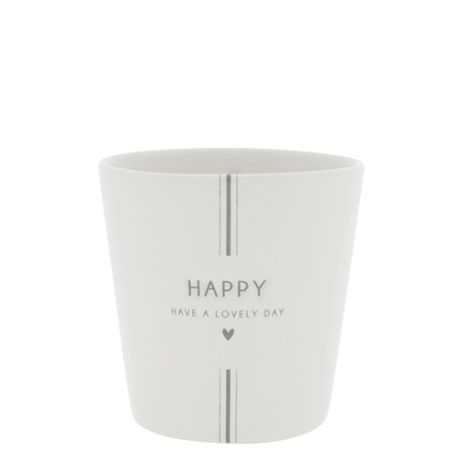 Cup White / Have a Lovely Day in Grey 9x9x7.5cm