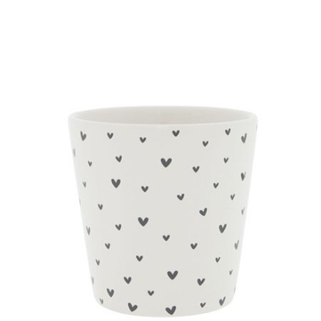 Cup White/Little Hearts in Black 9x9x7.5cm