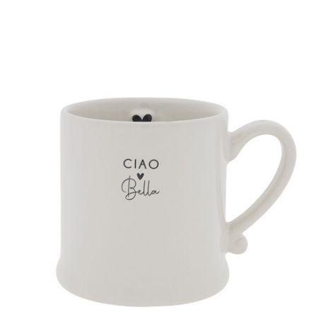 Mug White/Ciao Bella in Black 8x7cm