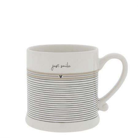 Mug White/Stripes Just Smile 8x7cm