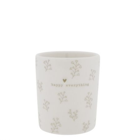 Mug White/Flower hearts in Titane 8x8x9cm