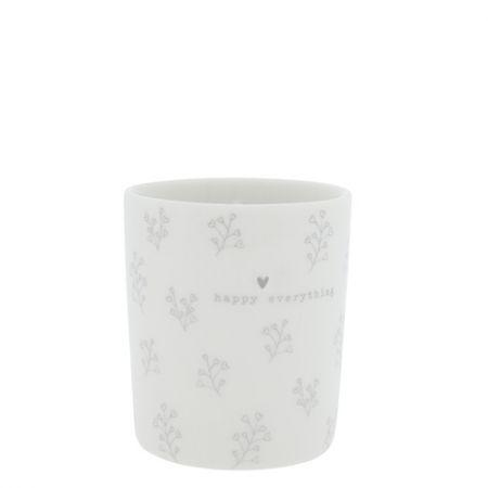 Mug White/Flower hearts in grey 8x8x9cm