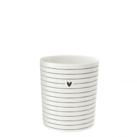 Mug White/heart& stripes in black 8x8x9cm
