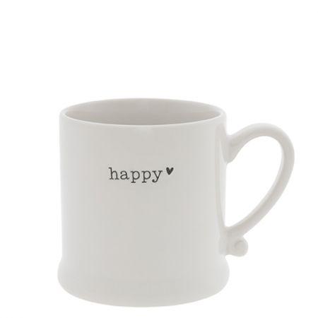 Mug White/Happy in Black 8x7cm
