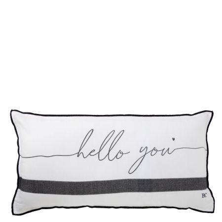 Cushion 35x70 White Chambray Hello You