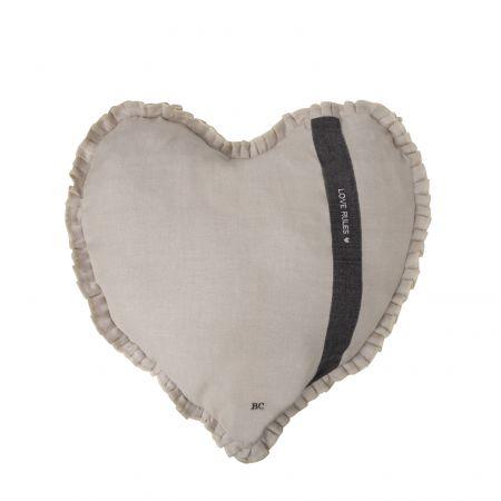 Heart Cushion 50x51 Natural Chambray Love Rules