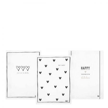 Kitchen Towels 50x70(3x4pcs) White & Black