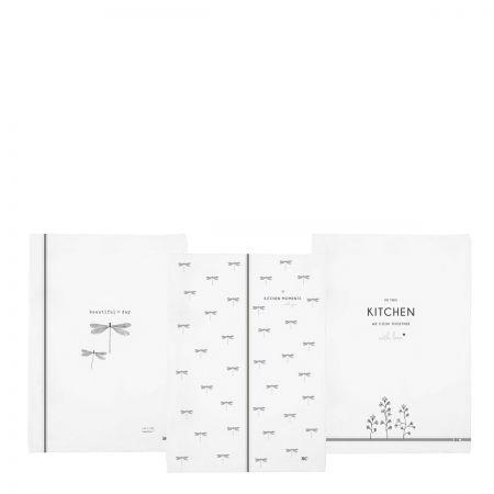Kitchen Towels 50x70(3x4pcs)White Dragon Fly