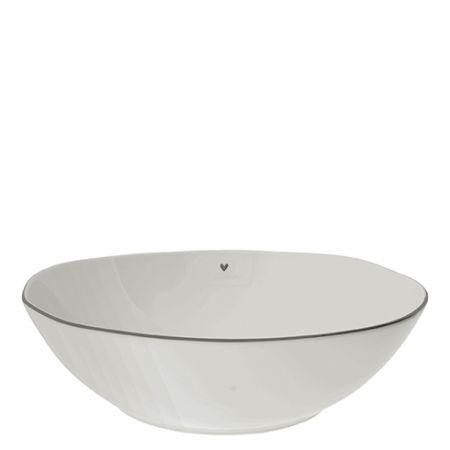 Bowl Salad white w.heart in Grey 15.5X27x8cm