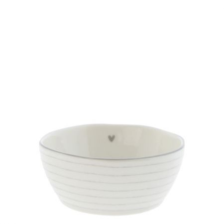 Bowl Sauce with heart/stripes in Grey 6.8X9.5X3cm