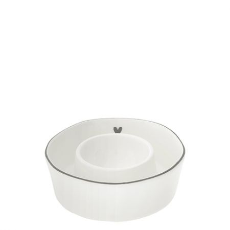 Egg Serving Cup white heart in grey Dia 9x2.5cm