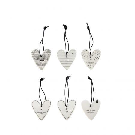 Hearts Decoration White/BL Ass 6x12