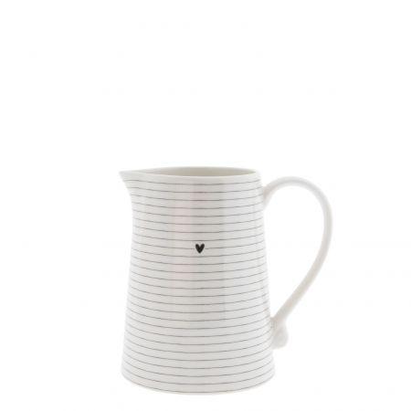 Jug White/Stripes in Black 12x11x16cm