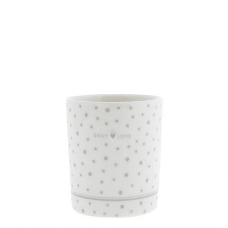 Mug White/Daily Love in grey 8x8x9cm