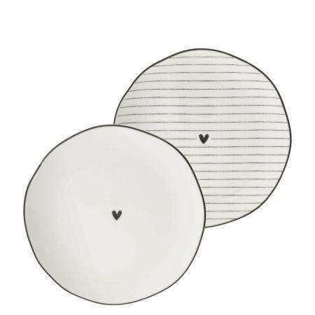 Side Plate Ass(2x12)white/edge & heart black 13cm