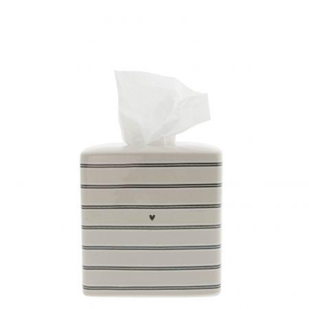 Tissue Box Titane/Stripes 13.5x13.5x13 cm