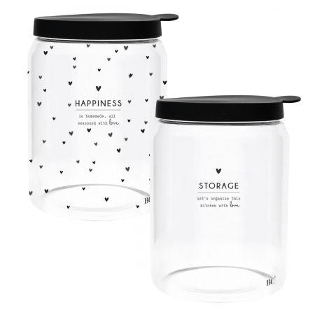 Storage Ass (2x4) with black lid Dia 12.8 x 16.5cm